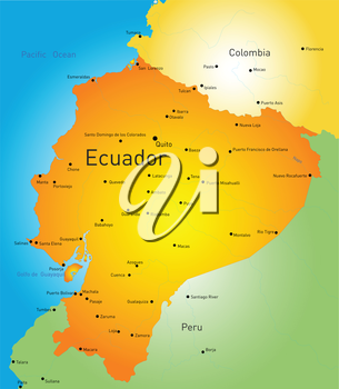 Abstract vector color map of Ecuador country