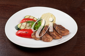 appetizer: tongue with grilled vegetable