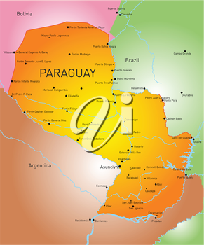 Vector color map of Paraguay country