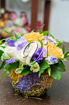 close up of beautiful wedding bouquet