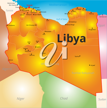 Vector color map of Libya country
