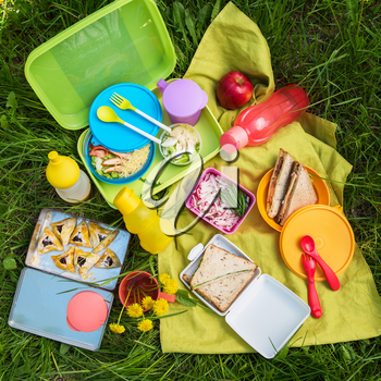 Top view of various picnic foods outdoors.