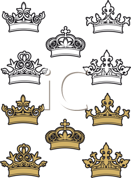 Royalty Free Clipart Image of a Set of Crowns