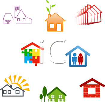 Royalty Free Clipart Image of Houses