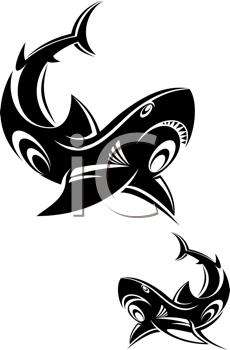 Royalty Free Clipart Image of Sharks
