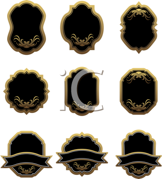 Royalty Free Clipart Image of a Set of Labels