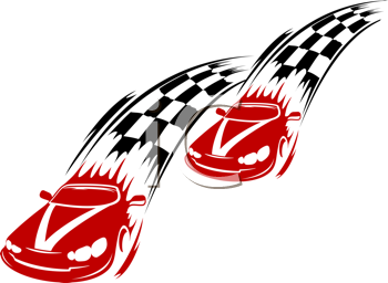 Racing cars and symbols for sports or tattoo design