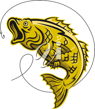 Yellow fish as a fishing symbol isolated on white background