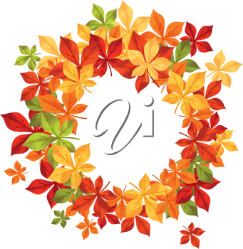 Autumn falling leaves in frame for seasonal or thanksgiving design