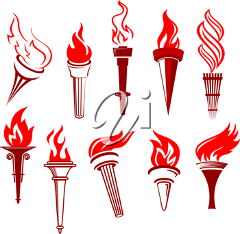 Set of flaming torchs isolated on white background