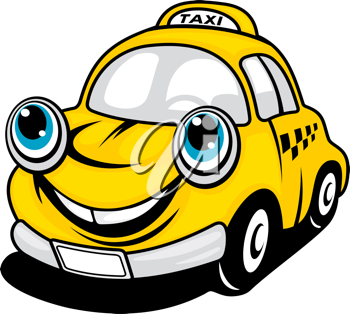 Cartoon taxi car with smile for transportation design