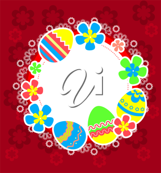 Easter frame with eggs and flower blossoms