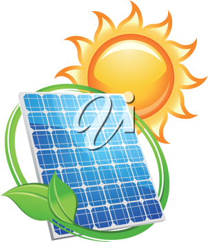 Solar panel and batteries with sun symbol for alternative energy concept
