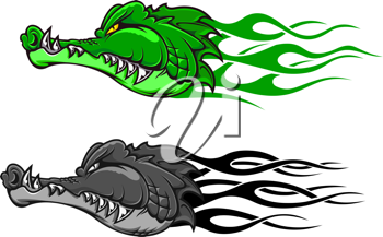 Danger crocodile tattoo with tribal flames for mascot design