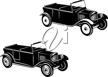 Retro car of 1920-1930 year in two variations