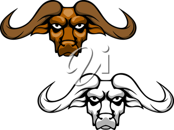 Buffalo or bull head with long hornes for mascot design