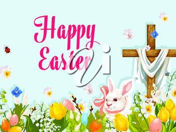 Easter egg hunt rabbit with cross greeting poster. Easter eggs hidden in grass of spring flower meadow with bunny, crucifix cross, tulip, lily, narcissus and willow twig. Easter holiday themes design
