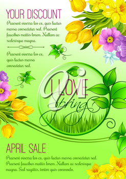 Spring Discount Sale vector poster for shopping promo. Springtime holidays design of blooming yellow tulip flowers, grin spring leaves and lily of valley bouquets and blossoms