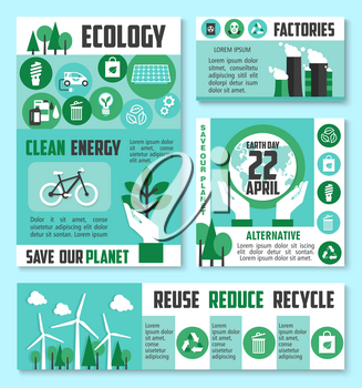 Ecology protection banner, Earth Day poster template. Green energy, eco transport, sustainable industrial plants banner with recycle, tree, solar panel, wind turbine, biofuel, reuse and reduce symbols