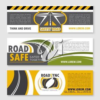 Road safety vector banner set for construction and repair service or travel and transportation company. Highway safe building of tunnels and bridges for motorway transport journey trip design