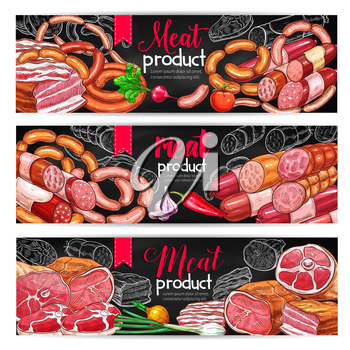 Meat product menu blackboard banner set. Beef and pork sausage, ham, salami, bacon, frankfurter and pepperoni chalk sketches with spicy vegetable seasonings for butcher shop or grill bar design