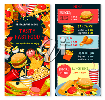 Fast food vector menu with prices and lunch time combo offer. Fastfood snacks, drinks and meals of hamburgers french fries with cheeseburger or hot dog and pizza, soda drink and coffee or ice cream de