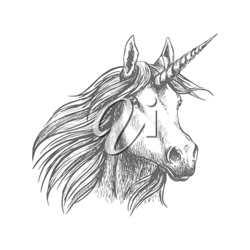 Unicorn sign. Mythical horse head with horn. Vector sketch simbol for sport, heraldic tattoo