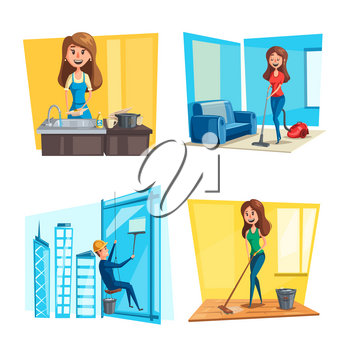 Home cleaning and homework concept vector flat design. Man cleaning windows on skyscraper building, woman washing dishes at kitchen sink or cleansing room with vacuum cleaner and mop