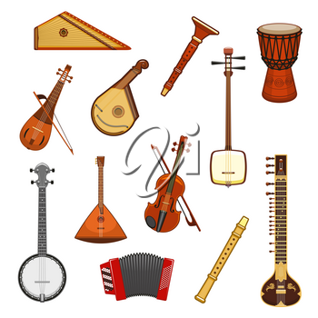 Music instrument isolated icon set of classic and ethnic musical instruments. Violin and mandolin, banjo, drum and balalaika, sitar, flute, accordion, rebec and psaltery. Music festival design
