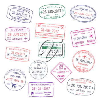 Passport travel stamps set with city names of Sydney, Manila or Amsterdam and Tokyo or Beijing and Hong Kong. Moscow, Madrid or Oslo and Cairo or Zagreb. Vector isolated icons of country arrival entry