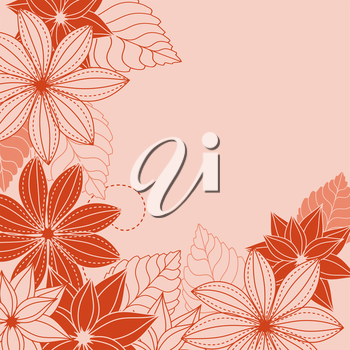 Abstract floral background with red and pink flowers