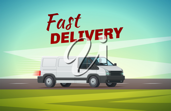 Delivery truck or van cartoon poster of commercial motor vehicle. Fast delivery car riding on road for transportation and delivery service advertising banner, shipping and logistic concept design