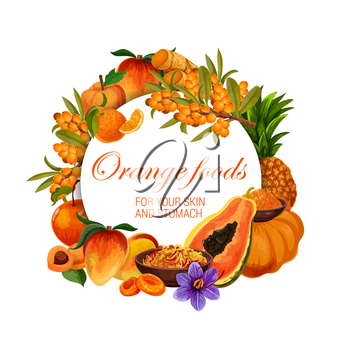 Orange food nutrition, color diet healthy fruits, berries and spices. Vector natural organic diet and orange food vitamins and minerals in mango, papaya and pumpkin for skin and stomach health