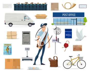 Postal delivery service cartoon set with postman and post icon. Post office, mailman, letter and mailbox, postage stamp, package and parcel, postal worker bag, delivery truck, bike and postmark symbol