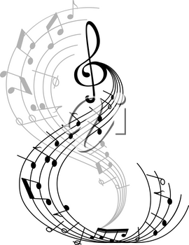 Music note poster of musical symbol on curved staff with treble clef and key signatures. Classical music melody notation for music themes design