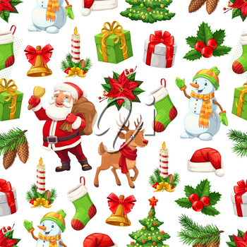 Christmas pattern background of New Year celebration symbols. Vector seamless design of cartoon Xmas tree, Santa and snowman with New Year gifts, stocking sock and wreath ribbon on reindeer bell