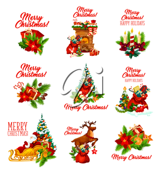 Merry Christmas happy holidays wish lettering and decoration icons for winter holiday season celebration. Vector Santa in sleigh, snowman with gift stockings on chimney fireplace and Christmas tree holly wreath