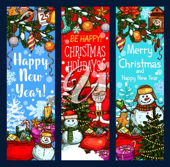 Christmas festive banner with New Year winter holiday sketches. Santa Claus, snowman and Xmas tree greeting card, decorated with gift, star and snowflake, ball, candy, cookie, candle and calendar