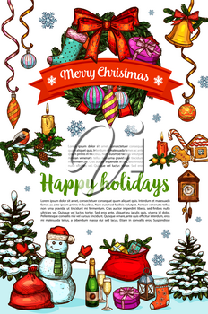 Merry Christmas and Happy Holidays greeting card for winter celebration wish. Vector sketch Christmas tree holly wreath garland and golden bell decoration, snowman and New Year Santa present gift bag