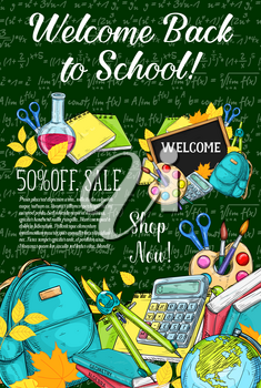 Back to School sale or autumn eduction season poster of mathematics formula on green chalkboard background. Vector web banner sketch template of school bag, geography globe or microscope and book