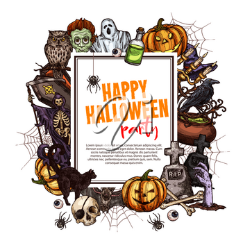 Happy Halloween sketch greeting card. Horror pumpkin lantern, ghost and bat, spooky skull, skeleton and zombie, spider, witch hat and gravestone frame with copy space in center for Halloween design