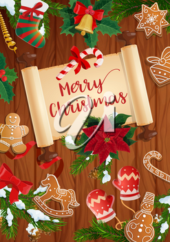 Christmas tree and holly branches with Xmas bell, stocking and ribbon bow. Vector gingerbread, snow and poinsettia on wooden background with scroll and wishes of Merry Christmas. Winter holiday design