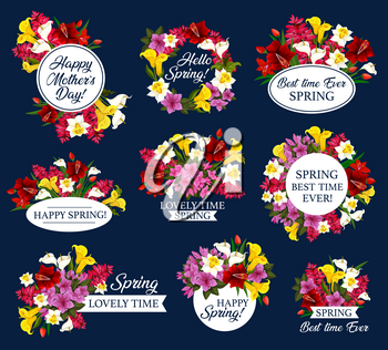 Spring Holiday floral icon with flower wreath and bouquet. Daffodil, tulip and azalea, calla lily and delphinium flower, blooming plant and flourish herb for Mother Day, Springtime season celebration