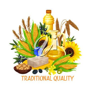Natural cooking oil and butter, vegetable plant seeds and nuts, cooking and salad dressing. Vector coconut butter, oil bottle from peanut or hazelnut and extra virgin olive or sunflower