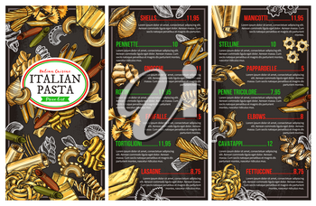 Italian pasta restaurant menu. Vector sketch conchiglie, pennette or gnocchi and rotini, homemade farfalle, tortiglioni or lasagna and manicotti with penne tricolore