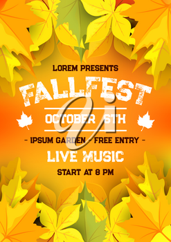 Autumn harvest festival banner template. Fall season harvest holiday celebration poster with fallen leaf frame of orange maple and yellow chestnut foliage with text layout for invitation flyer design