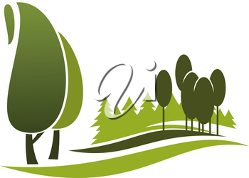 Green tree alley symbol of eco park, city garden and forest. Nature landscape of green tree and plant isolated icon for nature, ecology and outdoor recreation themes design
