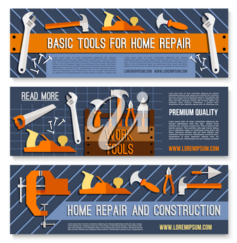 House repair banners of work tools for home renovation, carpentry or handy construction. Vector set of saw, wrench or screwdriver and plaster trowel spatula, woodwork plane gripe and vise or hammer