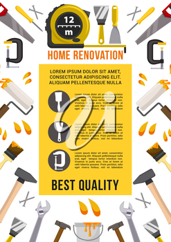 Home renovation and repair work tools poster. Vector carpentry measure ruler, spanner or wrench and screwdriver, drill or hammer and saw, plaster trowel and paint brush, toolbox of mallet and pliers