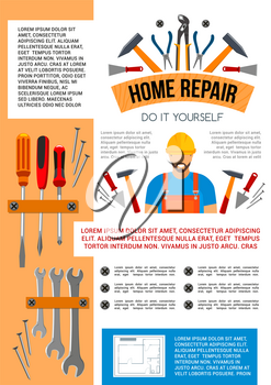 Home repair work tools and do it yourself toolbox poster for house construction or renovation. Vector handyman or carpenter grinder plane, building hammer, drill or ruler and screwdriver and spanner